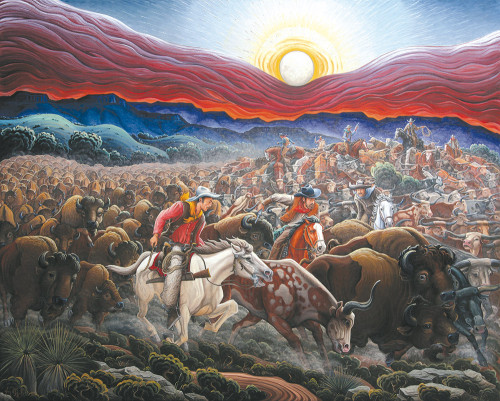 """Artist Kim Wiggins' """"Stampede-1866, Goodnight-Loving Trail"""" will be featured in the """"Masters"""" exhibition at the Autry Museum of the American West. (photo courtesy of the Autry Museum of the American West)"""