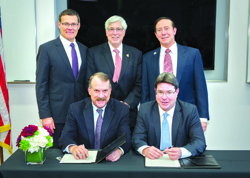 Members of Israel's Ministry of Science and the California Institute for Regenerative Medicine sign an agreement onstem cell research, facilitated by the Israeli-American Council. Standing from left, David Siegel,Consul General of Israel to the Southwest United States; Beverly Hills Mayor Julian A. Gold;Adam Milstein, National Chairman of the Israeli-American Council. From left sitting,Dr. Jonathan Thomas,Chairman of CIRM's Independent Citizens' Oversight Committee;Ofir Akunis,Israel's Minister of Science, Technology and Space. (courtesy of Cedars-Sinai)