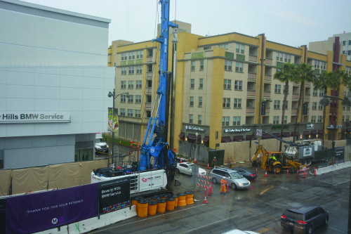 Metro construction continues at Wilshire Boulevard and Orange Drive. Metro staff is working to help businesses affected by the scheduled road closures. (photo by Patricia Sanchez)