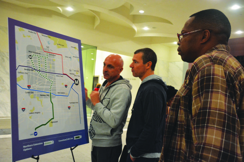 Community members take a look at three proposed Metro lines that could connect West Hollywood to the rest of L.A. County. (photo by Patricia Sanchez)