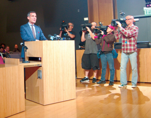 Los Angeles Mayor Eric Garcetti visited West Hollywood on Monday to encourage a raise in the city's minimum wage, similar to a plan Los Angeles approved last year. (photo by Gregory Cornfield)