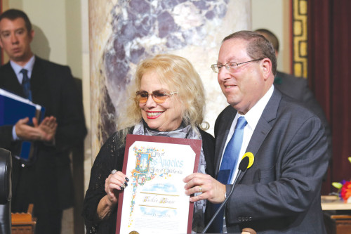 Councilman Koretz stands with Nickie Miner.  (photo courtesy of the 5th District council office)