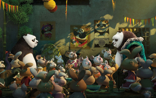 """Po (Jack Black) reunites with his long-lost dad Li (Bryan Cranston) in """"Kung Fu Panda 3."""" (photo courtesy of Fox Pictures)"""