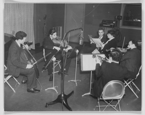 Elizabeth Sprague Coolidge, Walter Koons, and the Manhattan String Quartet in an NBC recording studio. Photograph, ca. 1935. Coolidge Foundation Collection, Music Division, Library of Congress.