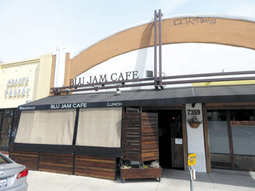 Burglars pried open a rear door at the Blu Jam Café during the early morning of April 21. Another restaurant on La Cienega Boulevard was burglarized the same morning.  (photo by Edwin Folven)