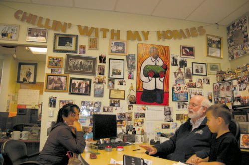Father Gregory Boyle personally meets with clients at Homeboy Industries. (photo by Edwin Folven)