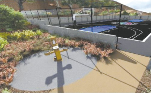 A rendering shows how the tennis courts at Runyon Canyon Park will look once the basketball court is complete. (photo courtesy of the Friends of Runyon Canyon)