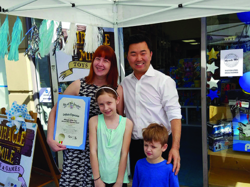 Councilman David Ryu joined Christine Johnson at Miracle Mile Toys & Games on Saturday for the Small Business Stroll.  (photo courtesy of Councilman David Ryu's office)