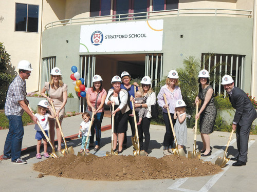 School administrators, parents and prospective students donned hard hats for a ceremonial ground breaking Tuesday on the new Stratford School campus in Hollywood. (photo by Edwin Folven)