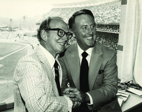 """(photos courtesy of the Los Angeles Dodgers) Walter """"Red"""" Barber hired Vin Scully and invited him to join the Dodgers in 1950. Scully said Barber was his mentor, and he uses the advice he received today."""