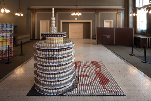 """CANpitol Records,"" was contstructed by LARGE Architecture and Simpson Gumpertz & Heger. (photo courtesy Canstruction LA)"