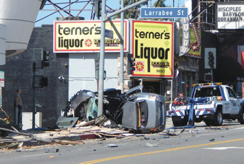 A 45-year-old man was killed on April 28 in a solo-vehicle collision on Sunset Boulevard. (photo by Edwin Folven)