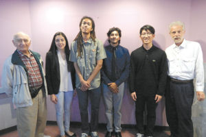 Scholarship recipients Jessica Saucedo, Marquez Balingit, Luis Mejia Ojeda and Steven Lee are pictured with George Epstein (left), whose late wife Irene was the inspiration for the scholarships. Also pictured is Dr. Howard Katzman, scholarship chair for the Los Angeles Chapter of SAMPE, which provided the scholarships. (photo by Edwin Folven)