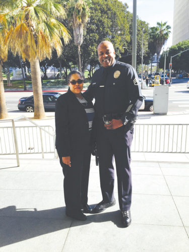 LAPD Sgt. A.J. Kirby and his wife Iesha celebrated the sergeant's 25th anniversary with the department in 2014. (photo courtesy of Sgt. A.J. Kirby)