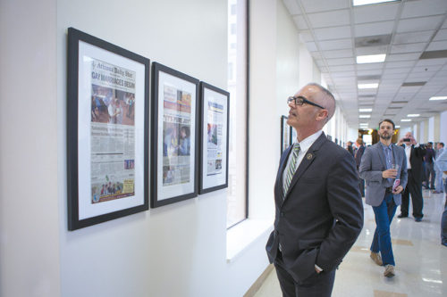 """Los Angeles City Councilman Mitch O'Farrell helped organize the """"Winning the Freedom to Marry"""" exhibit with ONE Archives. (photo courtesy of the 13th District Council Office)"""