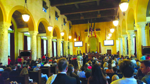 The Los Angeles City Council Chambers were packed last week as the city grapples with short-term rentals – often found on platforms like Airbnb and HomeAway. (photo courtesy of CT Consulting)