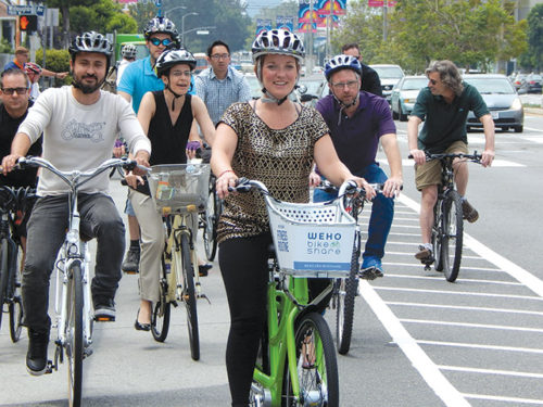 Councilwoman Lindsey Horvath joined cyclists for a ride on the new Fairfax Avenue bike lanes. (photo by Edwin Folven)