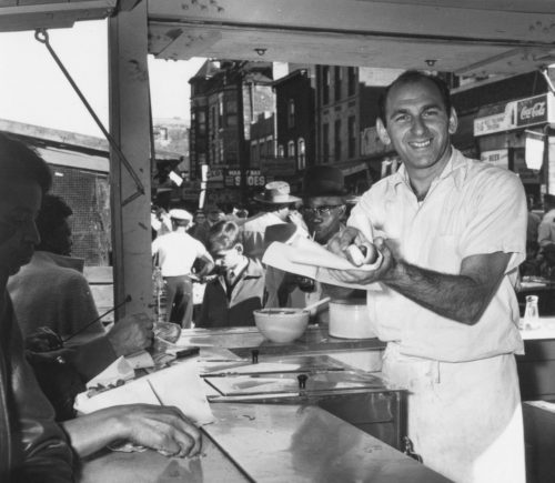 Circa 1957 - Vienna Beef franks can be found at hot dog stands throughout Chicago. The famous yellow Vienna Beef signs pop up in every neighborhood. (photo courtesy of Vienna Beef)