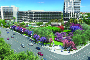 The rendering shows how the proposed development for the Beverly Hilton Garden and Open Space Initiative. (rendering courtesy of the Garvey Group)