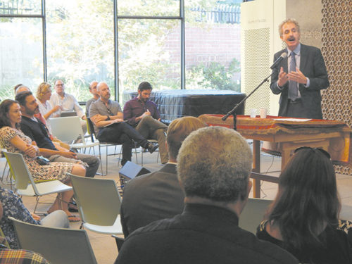 Los Angeles City Attorney Mike Feuer addressed crime problems and talked about issues his office is working on during a town hall meeting on July 12 at Temple Israel of Hollywood. (photo by Edwin Folven)