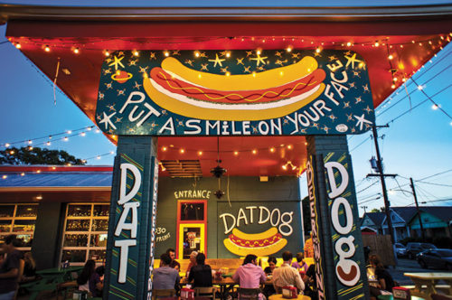 The Dat Dog Freret Street location is bound to put a smile on your face. (photo courtesy of Dat Dog)