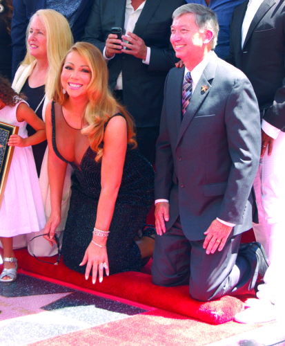Hollywood Chamber of Commerce president and CEO Leron Gubler hosts a Walk of Fame ceremony for Mariah Carey. (photo by Gregory Cornfield)