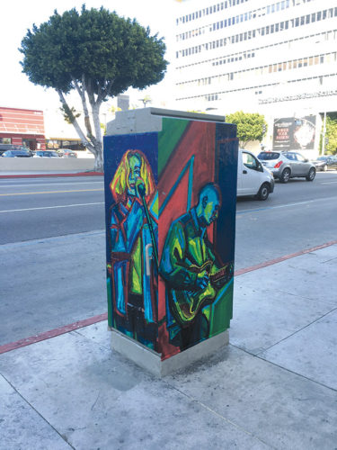 Electrical utility boxes near Hollywood boulevard will be decorated similar to a project already completed on Sunset Boulevard. (photo courtesy of the HED BID)