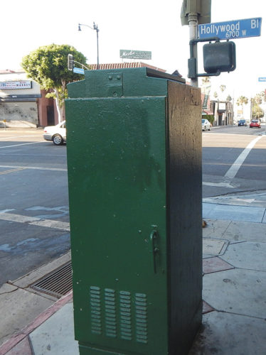 The utility boxes to be decorated are located along Hollywood Boulevard. (photo by Edwin Folven)