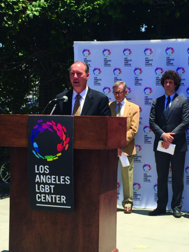 Los Angeles County Department of Public Health's interim health officer, Jeffrey Gunzenhauser, above, speaks at the Los Angeles LGBT Center about meningitis last week. AHF called for him and interim director Cynthia Harding to step down. (photo by Gregory Cornfield)