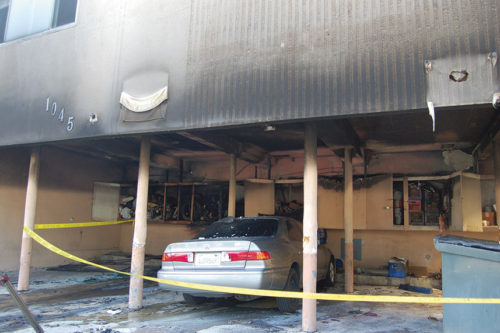 The arsonist ignited fires in apartment building carports, including a blaze at this building on Genesee Avenue in West Hollywood. (photo by Edwin Folven)