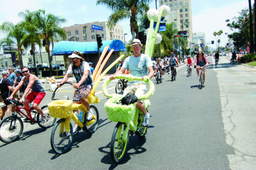 Riders enjoy a closed Wilshire Boulevard during a CicLAvia event in 2013. (photo by Aaron Blevins)