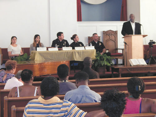 Pastor Charles Johnson, of the Cochran Avenue Baptist Church organized a meeting on Tuesday for officers from the Wilshire Division and community members to discuss concerns. (photo by Edwin Folven)