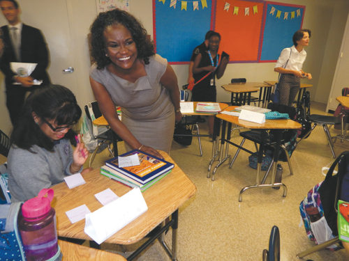LAUSD superintendent Michelle King welcomes students back to school. (photo by Edwin Folven)