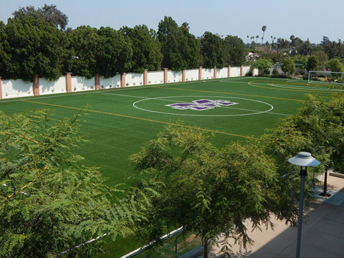 The new soccer and lacrosse field allows the Mustangs to show off their talents at home. (photo by Edwin Folven)