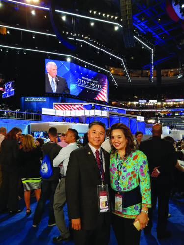 photos courtesy of Congressman Lieu's office Congressman Ted Lieu stands with his wife Betty at the Democratic National Convention. (photos courtesy of Congressman Lieu's office)
