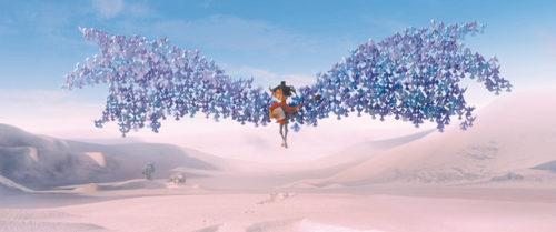 """Kubo can transform paper into origami he can move with his shamisen in """"Kubo and the Two Strings."""" (photo courtesy of Focus Features)"""