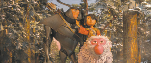 """Kubo, Monkey and Beetle embark on an adventure in """"Kubo and the Two Strings."""" (photo courtesy of Focus Features)"""