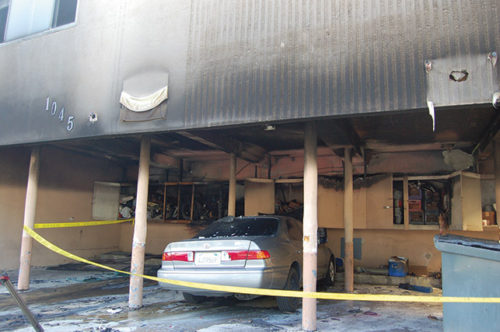 One of the fires attributed to the arsonist was set in a carport on Genesee Avenue in West Hollywood. (photo by Edwin Folven)