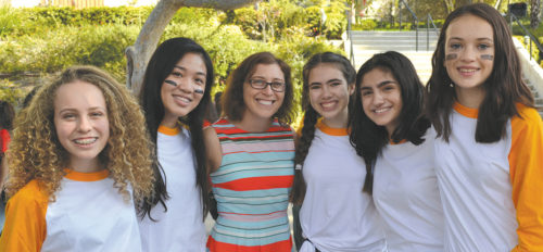 Principal Naemah Morris (center) is pictured with the Sandlot Sophomores at Immaculate Heart's recent Welcome Day celebration. She was joined by students Maya Feuilladieu (from left), Carlene Sanchez, Dakota Cohen, Christine Noravian and Justice Kochevar. (photo courtesy of Callie Webb/Immaculate Heart High School)