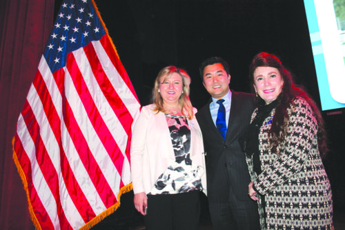 From left, Dr. Fariba Kalantari, chair of the Hollywood Chamber of Commerce, Councilman David Ryu, and Donelle Dadigan of the Hollywood Museum. (photo by Marlene Panoyan/Hollywood Chamber of Commerce)