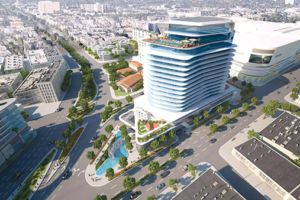 A rendering shows how the 333 La Cienega project will be situated near Burton Way, La Cienega Boulevard and San Vicente Boulevard. (photo courtesy of Caruso Affiliated)
