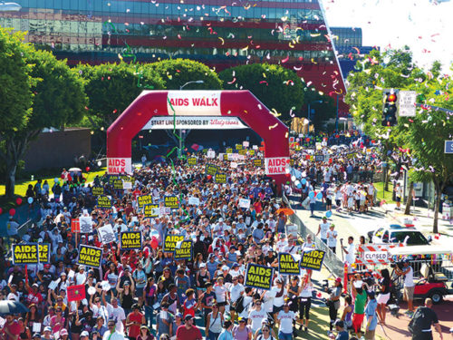 Tens of thousands of people participated in AIDS Walk Los Angeles when it was held in West Hollywood. Organizers have moved the walk  this year to Grand Park downtown, and it will take place on Oct. 23. (photo by Leif Green)