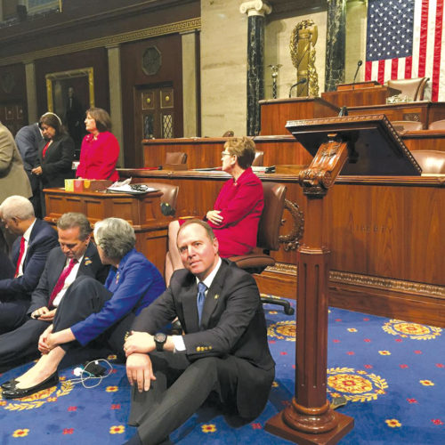 Congressman Adam Schiff joined Democratic colleagues in the U.S. House of Representatives for a sit-in to demand action on gun control legislation in June after the mass murder at the Pulse Nightclub in Orlando, Florida. (photo courtesy of Congressman Adam Schiff's Office)