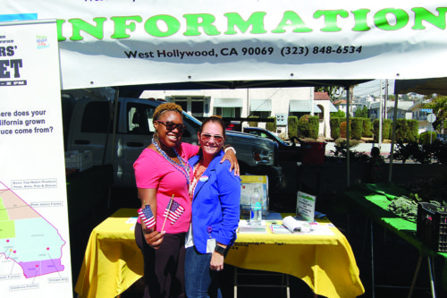 West Hollywood assistant city clerk Melissa Crowder, right, and staff member Dee Sanders work at a pop-up voter registration booth in Plummer Park. (photo by Brent Giannotta)