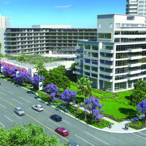 After voters rejected Measure HH, Beverly Hilton's owner Beny Alagem will revert to the plan that was approved in 2008, displayed in the rendering above. (courtesy of the Garvey Group)