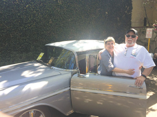 Dan Vance and his wife Cindy participated in the Gilmore Heritage Auto Show each year at the Original Farmers Market. The couple is pictured with his beloved 1956 Chevrolet Bel Air. (photo courtesy of Cynthia Vance)