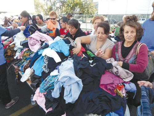 The National Council of Jewish Women, Los Angeles distributes clothing to thousands of people in need at the beginning of December each year. (photo by Edwin Folven)