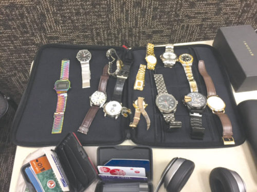 Investigators in West Hollywood are hoping auto burglary victims can identify and claim items believed to have been stolen by two suspects who are in custody. (photo courtesy of LASD)