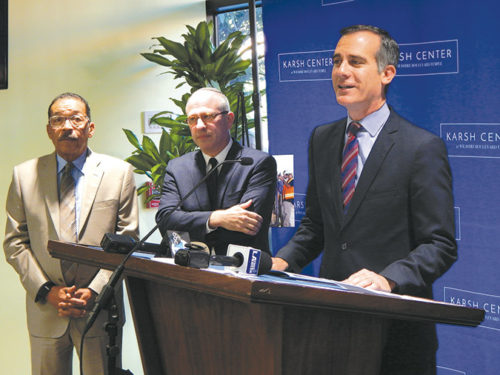 Mayor Eric Garcetti said the Wilshire Boulevard Temple's Karsh Family Social Service Center will provide many benefits for people living in the surrounding communities. He is pictured with the temple's Senior Rabbi Steven Z. Leder (center) and Los Angeles City Council President Herb Wesson, 10th District. (photo by Edwin Folven)