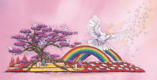The AIDS Healthcare Foundation's Rose Parade float will feature a soaring dove in remembrance of victims who died in a shooting at an LGBT nightclub in Orlando, Fla. in June. (photo courtesy of AHF)